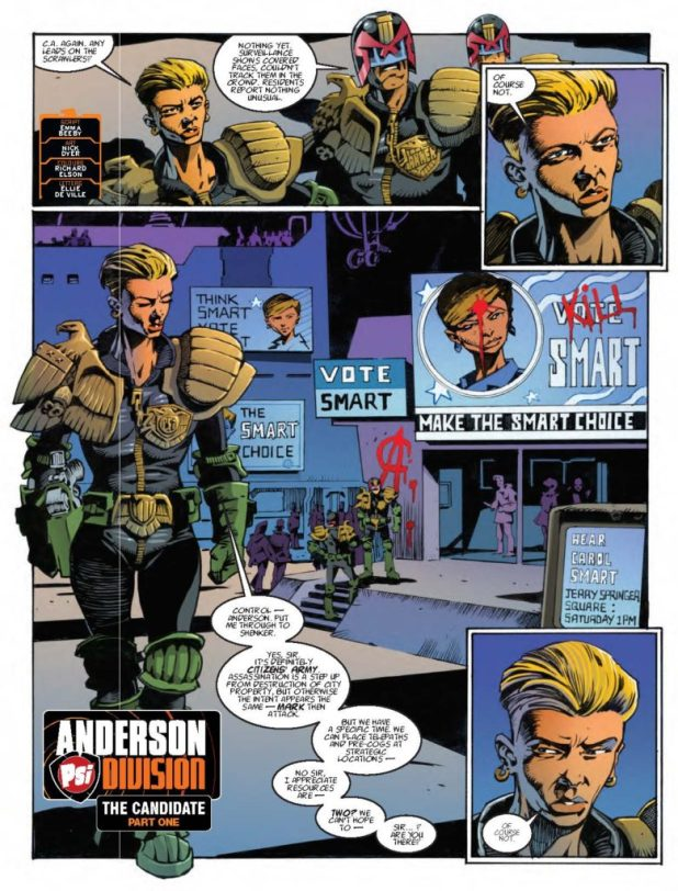 "It's great to see artist Nick Dyer on ""Judge Anderson"" in this week's 2000AD."
