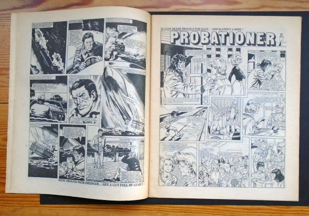"The third page of""Dredger"" and the opening page of ""Probationer"" from the copy of Action 37 sold on eBay in 2016"
