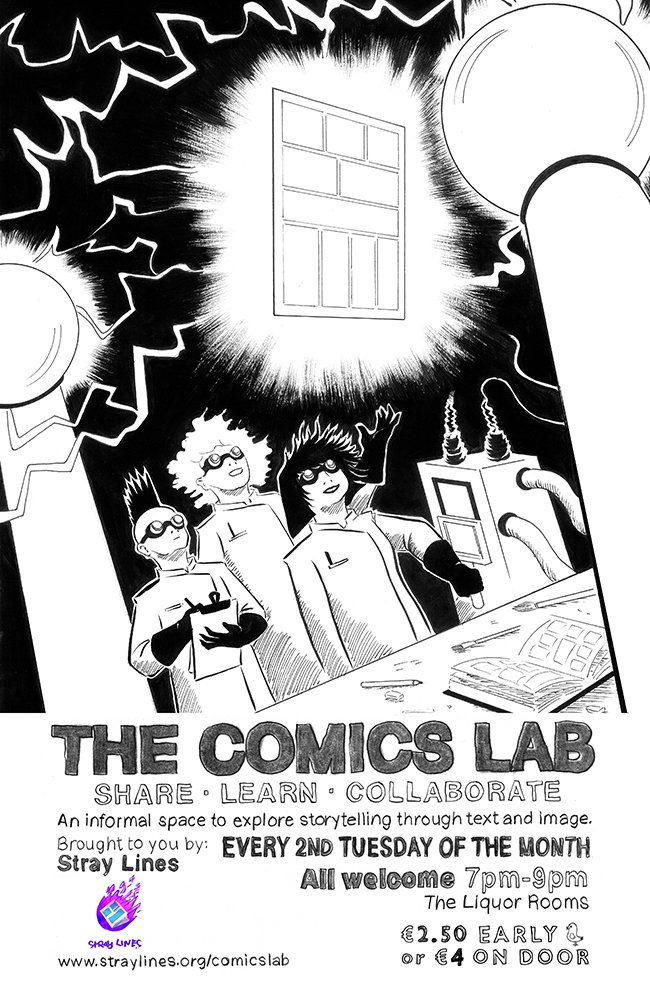 Comics Lab - August 2016 Poster - Art by Julie Nick