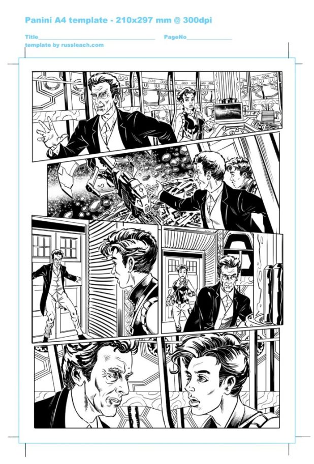 Inks for the lead strip for Doctor Who Adventures issue 17, written by James Peaty
