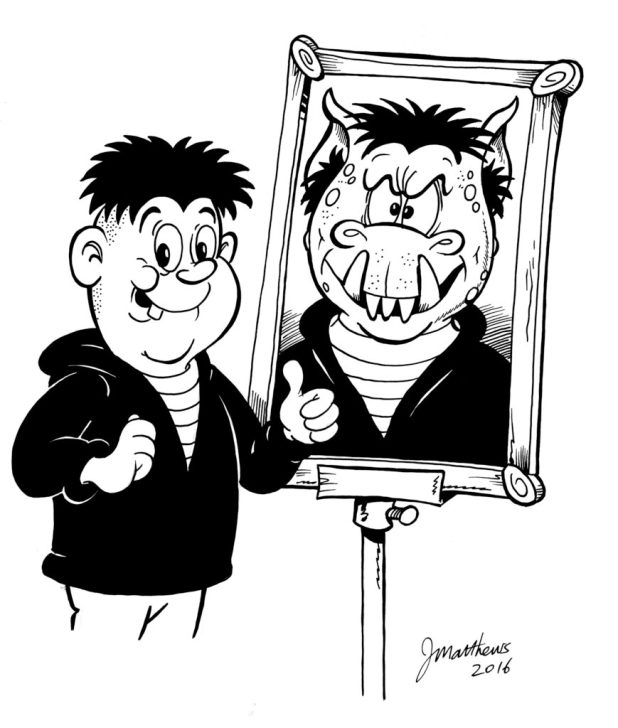 A modern look to Ken Reid's popular character Faceache, by Joe Matthews.