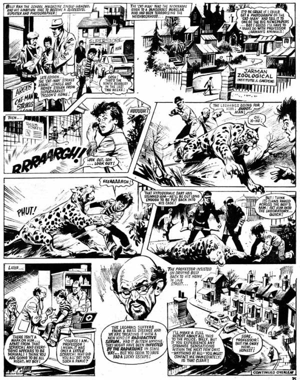 """A page from the first episode of """"The Leopard of Lime Street"""", drawn by Mike Western, written by Tom Tully, first published in 1976"""