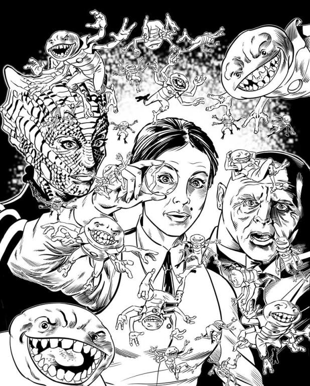 Doctor Who's Paternoster Gang by Russ Leach. Inks for an illustration for a new short story featuring the characters for Doctor Who Adventures Issue 17, written by Tommy Donbavand.