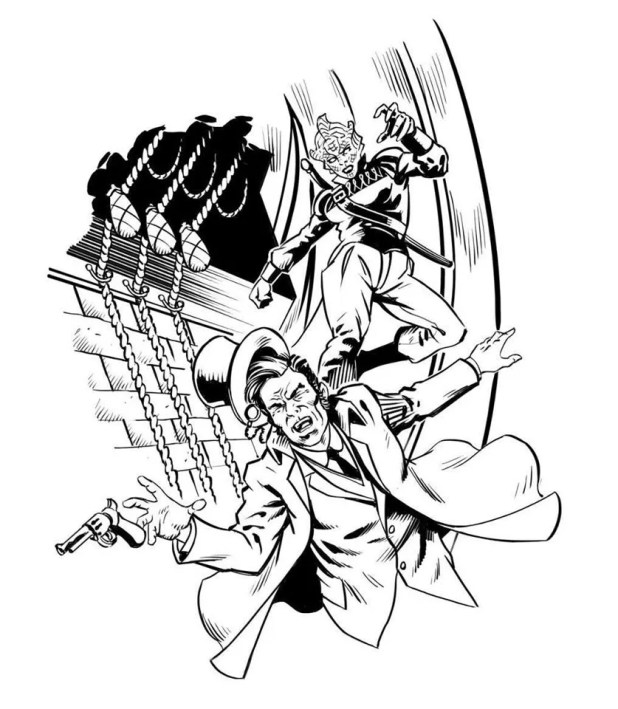 Madame Vastra in action for Doctor Who Adventures. Art by Russ Leach