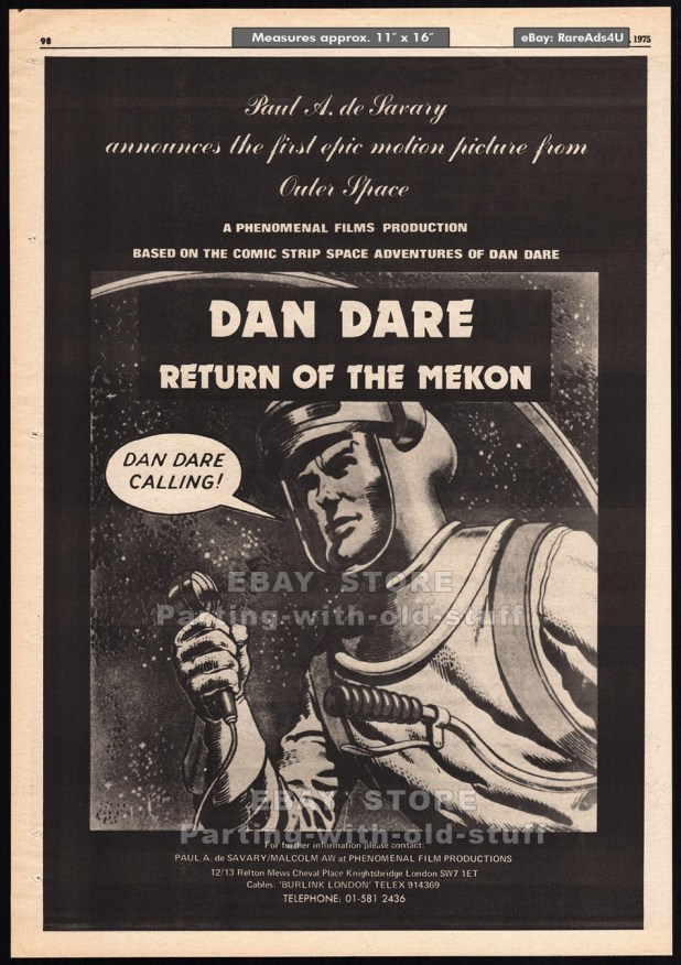 Dan Dare: Return of the Mekon - Film ad, Variety October 1975
