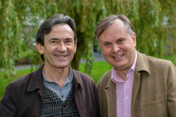 Benoît Peeters and Simon Guy at Lancaster University last year. Image: Lancaster University