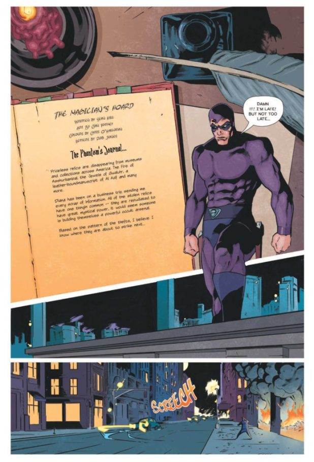 """The opening page from """"The Magician's Hoard"""" written by Sean Hill, with art by Cian Tormey, coloured by Chris O'Halloran, lettered by Robin Jones"""