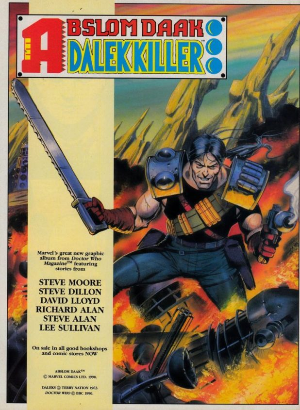 A Doctor Who Magazine house ad for Marvel UK's Abslom Daak Dalek Killer book, featuring the cover art by Steve Dillon