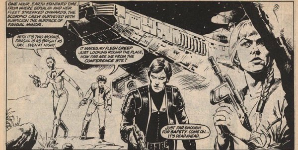 A panel from one of Steve Dillon's Blake's 7 strips for Marvel UK's Blake's 7 Monthly