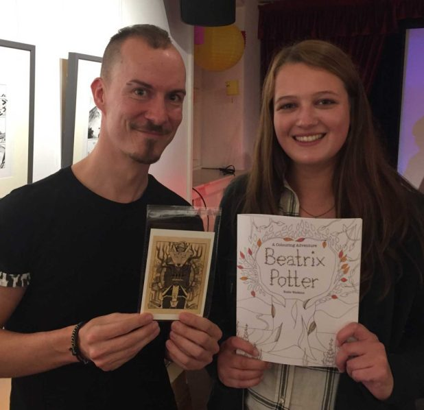 Beatrix Potter Reimagined competition runners up Ian F and Katie Watkins, who were at the Festival to collect their Wacom prizes.