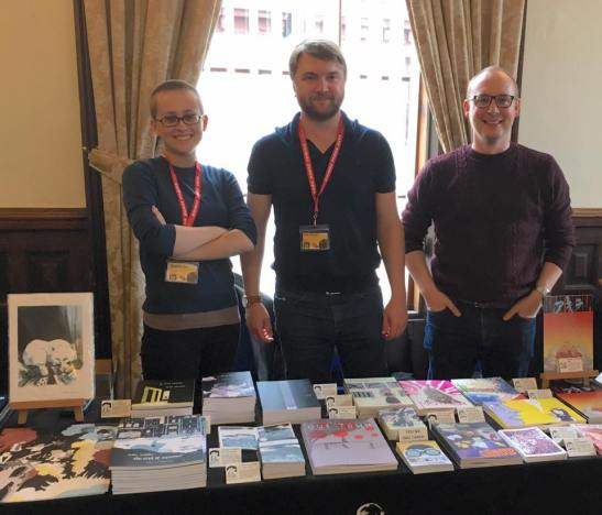Avery Hill founders Ricky Miller and David White with award-winning comic creator Tillie Walden at the Lakes International Comic Art Festival last month