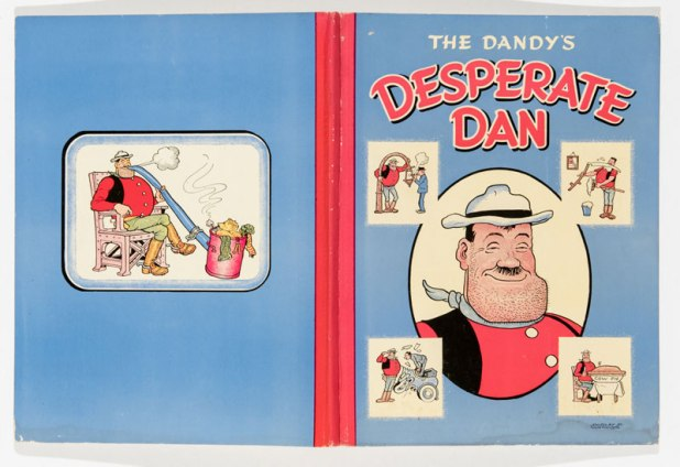 This first Desperate Dan Annual has a scarce cover misprint, where the colour yellow was not used and Dan's shirt is pink instead of red.