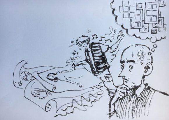 2016 Lakes International Comic Art Festival auction art:  Edmond Baudoin – Self Portrait with Craig Thompson