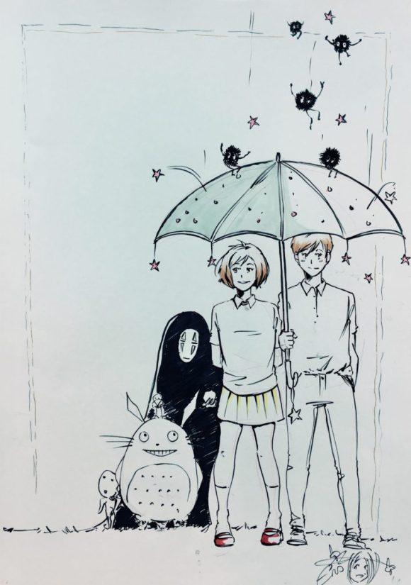 2016 Lakes International Comic Art Festival auction art:  a homage to Miyazaki by Emma Vieceli