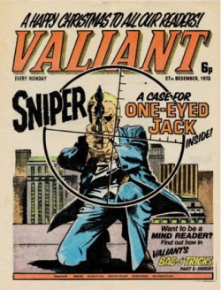 The decidedly very un-Christmas-like first cover appearance of One-Eyed Jack (Valiant cover dated 27th December 1975)