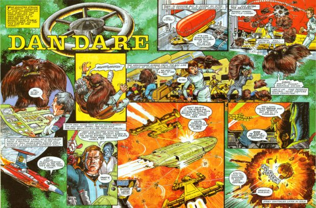 "The opening spread of ""Dan Dare"" from the first merged issue of Eagle and Battle (Issue 308, cover dated 30th January 1988)."