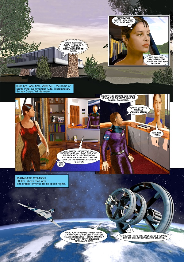 """Frontiers"" Page One (minus logo) by and © John Ridgway"