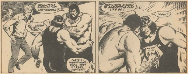 Johnny Cougar battles Mighty Man in Tiger and JAG, issue cover dated 29th January 1972. Script by Barrie Tomlinson, art by Sandy James. Via Great News for All Readers