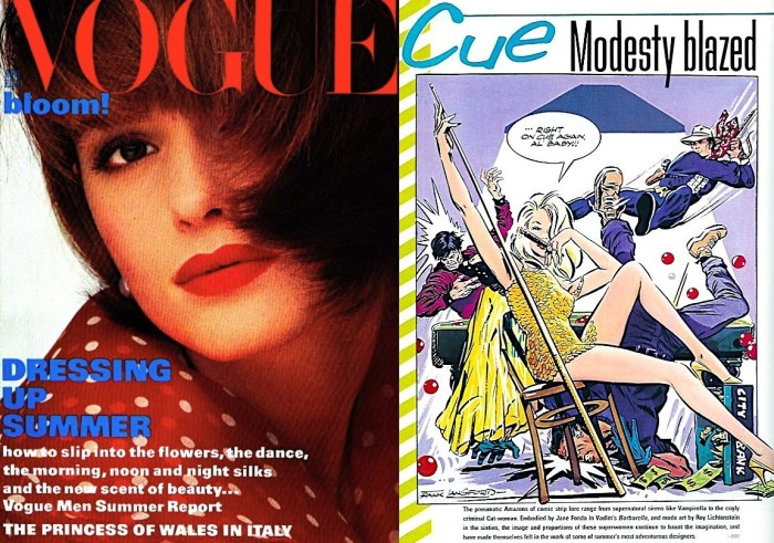 Vogue Cue June 1985 - Modesty Blazed - art by Frank Langford