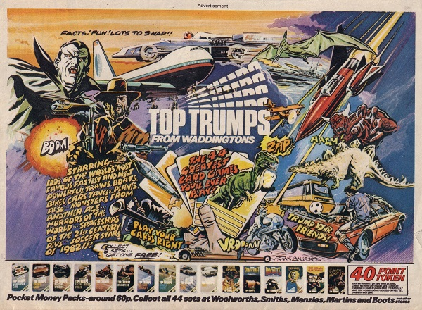 Top Trumps ad for Eagle cover dated 3rd July 1982 - art by Frank Langford