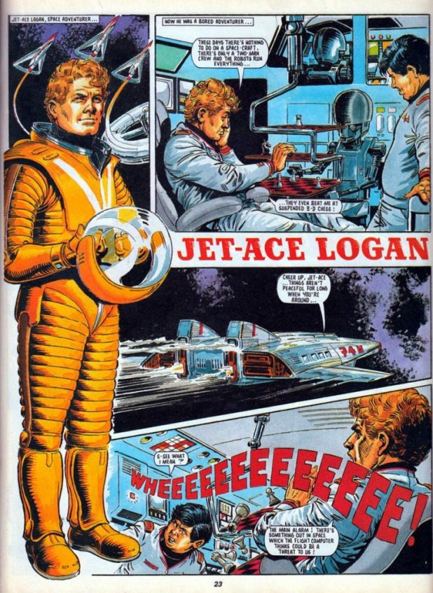 Jet-Ace Logan was revived for a one-off strip in the 1990 Classic Action Holiday Special, again drawn by John.