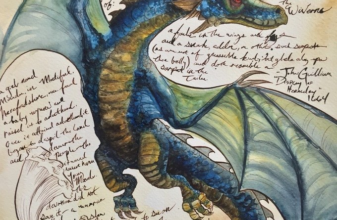 The field guide to: Dragons, Wyrms, and Serpents of the World by Bambi Wendt - Art Sample