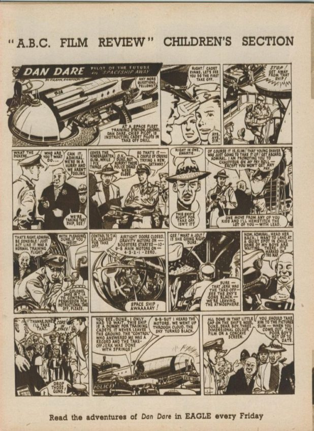 "The October 1952 edition of the the ABC Film Review featured this ""Dan Dare"" strip by his co-creator, Frank Hampson"