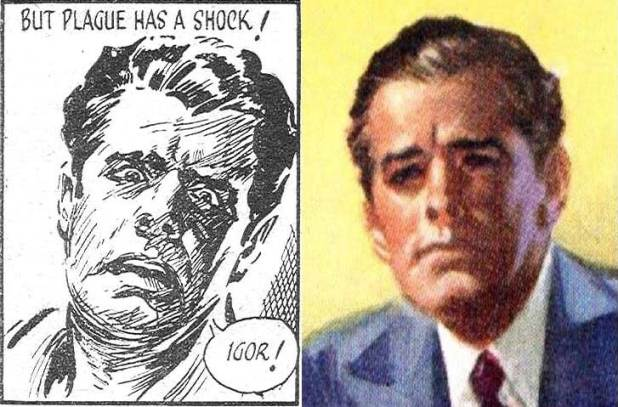 Left: an image of John Plague from Sexton Blake versus the Astounding John Plague. Right: A man with similar features depicted by Heade on the cover of the book Women I Have Loved (Archer, 1953). Possible self-portraits by the artist?