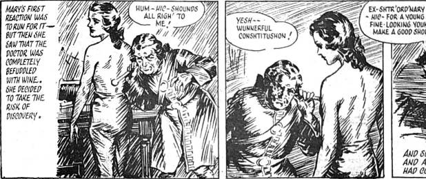 Example panels from the thirteenth instalment of Mary Read – Soldier and Pirate (Answers, 7 June 1952) – the first instalment on which Heade was not credited. Had another artist taken over at this point