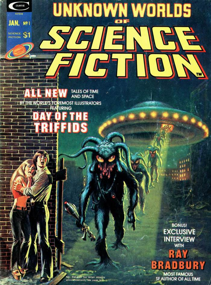 The US cover of Unknown Worlds of Science Fiction by Frank Kelly Freas. The human figures are the work of John Romita - the result of editorial changes