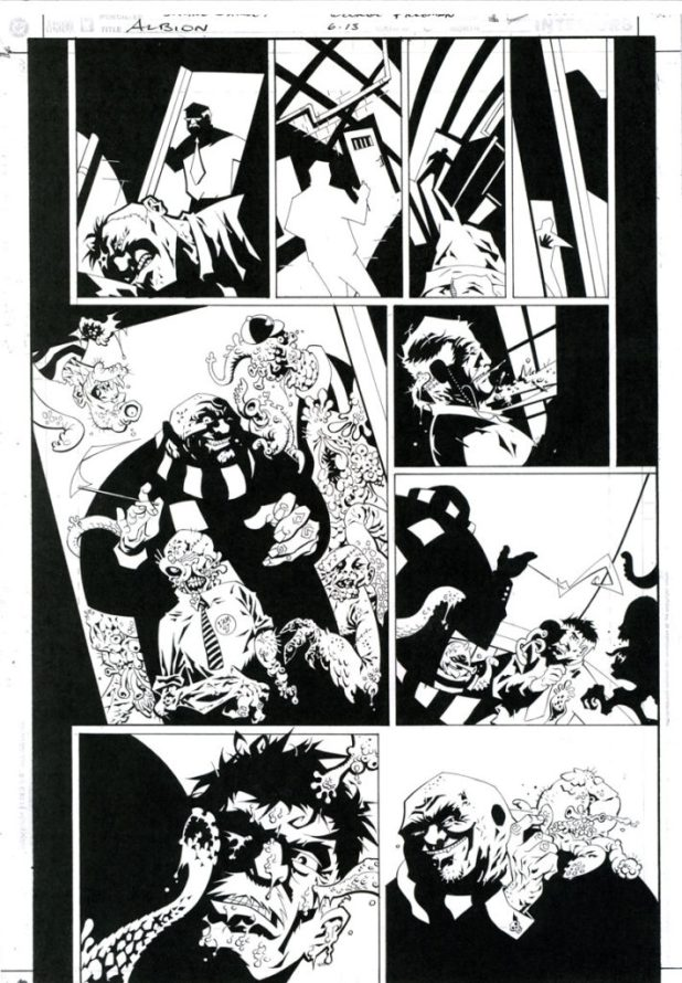 An inked page from Albion #6.