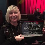 LICAF team member Carole Tait with the award for Festival of the Year