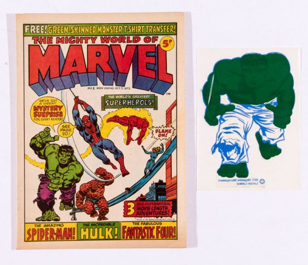 Mighty World of Marvel 1 (1972) - with Hulk T-Shirt Transfer free gift