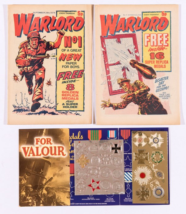 Warlord (1974) 1, 2 both with free gifts - replica medals and Holder