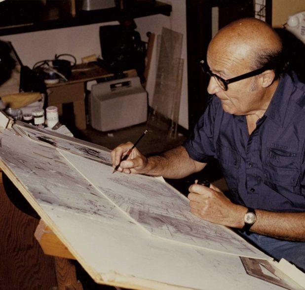 Will Eisner at his drawing board, circa 1985