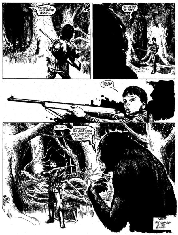 "Art from ""Summer Magic"" in 2000AD Prog 576, published in May 1988, written by Alan McKenzie, drawn by John Ridgway."