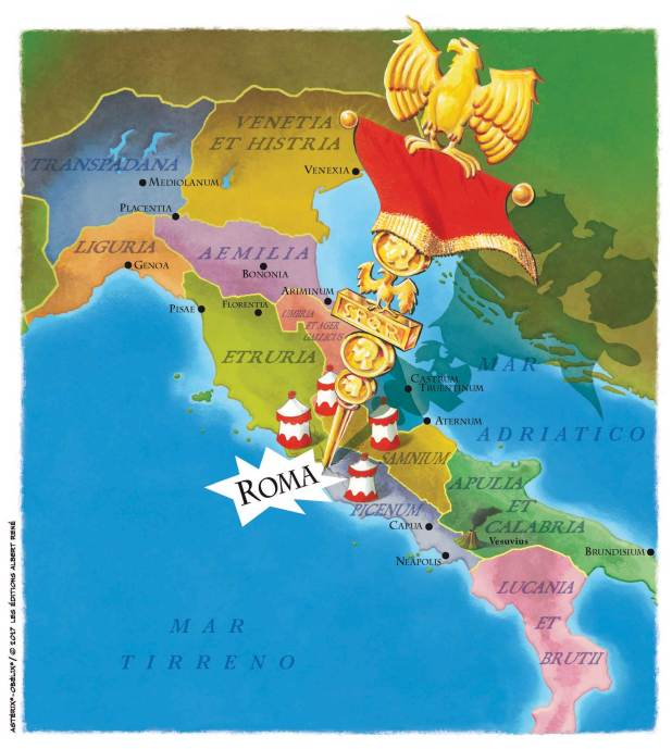 Asterix and the Race through Italy Map with Towns