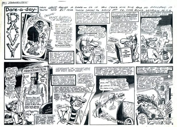 """Art from a banned """"Dare a Day Davy"""" by Ken Reid, rescued from destruction by the late Steve Moore. Digging up graves was a step too far for WHAM!'s publisher..."""