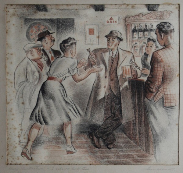 A pub scene drawn by Frank Hampson - an example piece of a particular style of illustration from a portfolio the Dan Dare creator may have put together post war when looking for freelance work, his son Peter suggests.