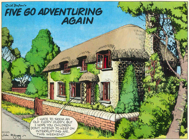 "John Ridgway's opening panel for ""Five Go Adventuring Again"", published in Enid Blyton Adventures Issue 15"