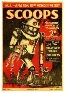 Scoops Issue One, published in 1934. Image for 2017 Adventure feature by Andrew Darlington.