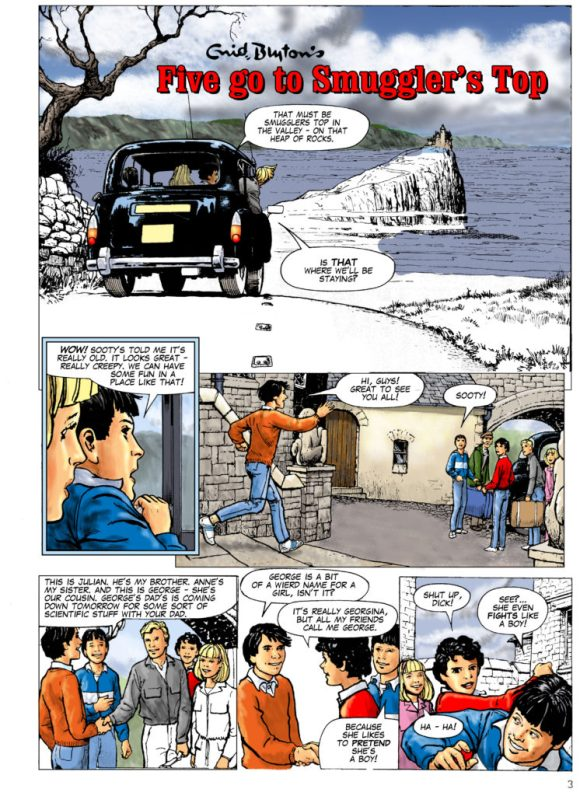 "John Ridgway's recoloured version of the same page from ""Five Go to Smugglers' Top"""