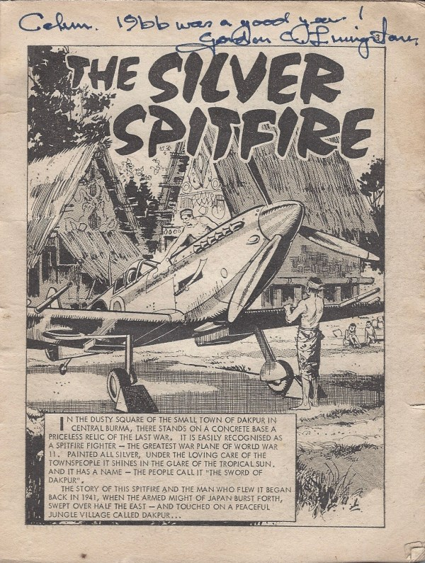Calum's much-thumbed copy of Commando Issue 199 – The Silver Spitfire, signed by Gordon Livingstone (after a lot of convincing...)