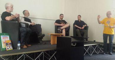 Tim Perkins, Austin Chambers, Tom Ward and Michael Barrett talk self publishing at Lancaster Comics Day. Photo: Mark Hetherington