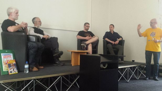 Tim Perkins, Austin Chambers, Tom Ward and Michael Barret talk self publishing at Lancaster Comics Day. Photo: Mark Hetherington
