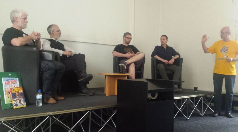 Tim Perkins, Austin Chambers, Tom Ward and Michael Barrett talk self publishing at Lancaster Comics Day. Photo: Mark Hetherington
