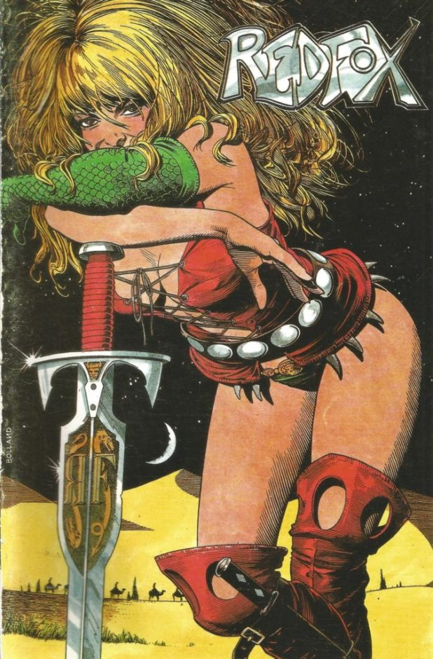 "A ""Redfox"" cover by Brian Bolland, one of the creator owned projects published by Harrier. Valkyrie Press was originally established to publish Redfox post Harrier; they also later published Bryan Talbot's The Adventures of Luther Arkwright."
