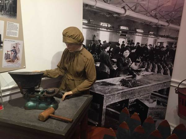 "The museum's Boom Town exhibition includes this recreation of a ""work station"" for one of the hundreds of female workers handling TNT"