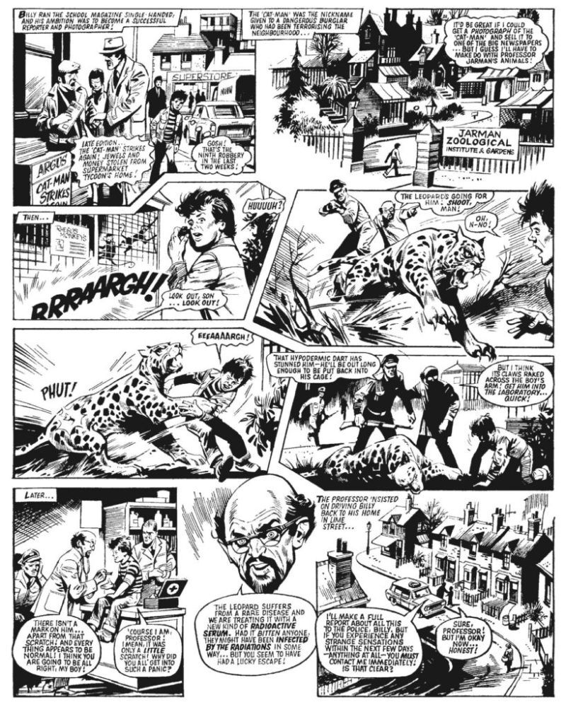 """Billy is attacked by a radioactive leopard in the first episode of """"The Leopard from Lime Street"""" art by Mike Western"""