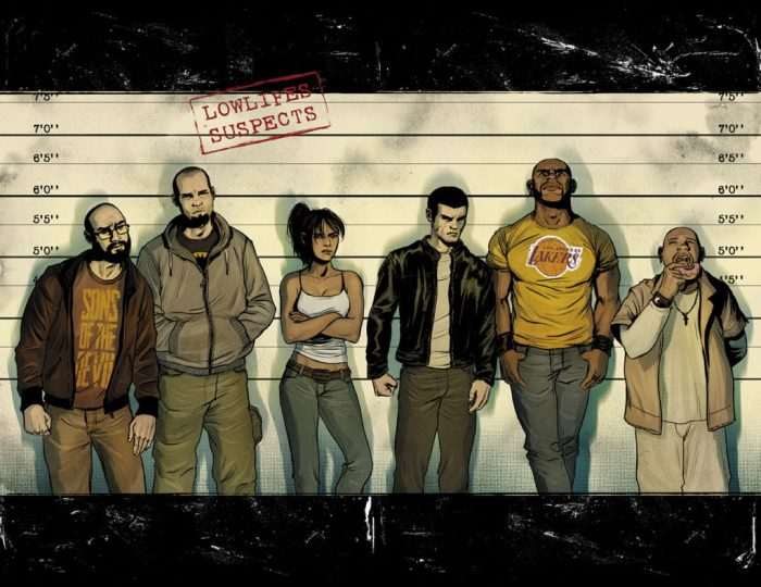 Promotional art for Lowlifes written by Brian Buccellato, art and colour byAlexis Sentenac